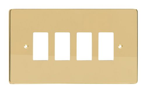Varilight XDVPG4 PowerGrid Polished Brass 4 Gang Grid Plate (Twin Plate)